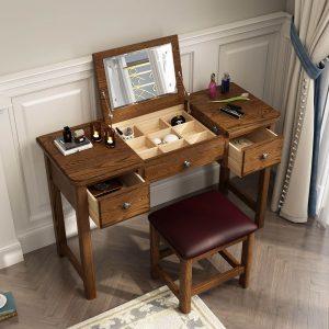 美式带镜子翻盖化妆桌梳妆台