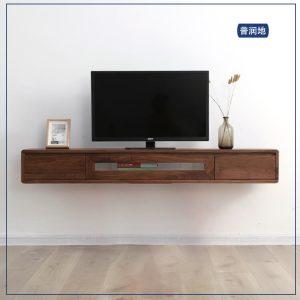 北欧轻奢黑胡桃木挂墙电视柜