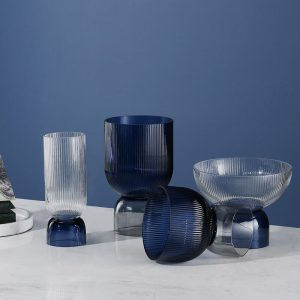 北欧轻奢现代玻璃高档花盘花瓶糖果盘