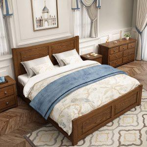 美式全实木收纳床主卧床